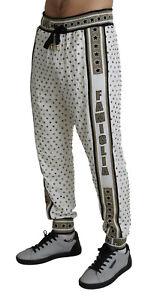 DOLCE & GABBANA Pants Sweatpants White DG Love Studded Trouser IT48/W34/M $9400