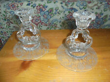 Set Of Vintage Candle Holders Applique? Floral Pattern Unmarked