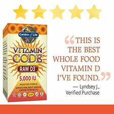 Garden of Life Raw D3 5000 IU Supplement Vitamin Code Whole Food 60 Count