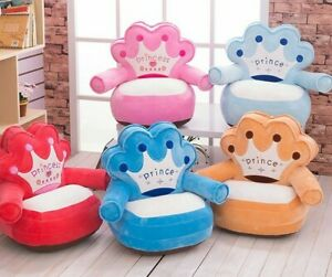 Baby Cushion Cartoon Crown Seat Sofa Chair Toddler Nest Puff Seat Case Bean Bag