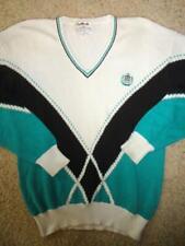 LaMode Crest Vintage 90s Sweater Blue White Teal Pull Over Vneck Rad Mens L