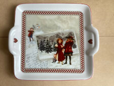 More details for rare villeroy and boch winter souvenir handled tray plate christmas