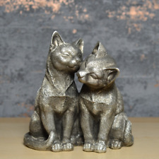 More details for silver cats sculpture kittens figurine ideal gift for cat lovers ornament