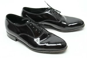 Florsheim Mens Formal Tuxedo Shoes 7.5 D Brown Patent Leather Oxford Balmoral