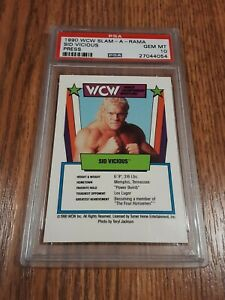 1990 WCW Slam-A-Rama Sid Vicious Rookie Wrestling Game Card PSA 10 WWE Justice