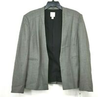 Halogen Womens Grey Open Front Long Sleeve Bird's Eye Suit Jacket Blazer 16P