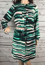 Apt. 9 Shirt Dress XS Size 2 Pink Teal Black Watercolor Striped Dreamy Style