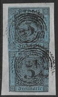 Baden 1853-58 3kr Black/Blue #8 Fine Used PAIR On Piece CV $145.00