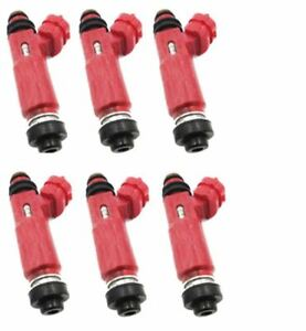 6 x FUEL INJECTORS for MITSUBISHI TRITON ML 6G74 3.5 V6 06-09 RED INJECTOR DENS