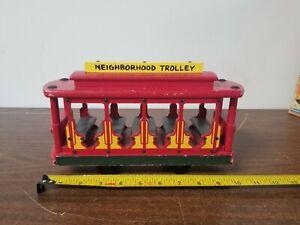 Vintage Mr. Rogers Red Wooden Neighborhood Trolley by Holgate 1991
