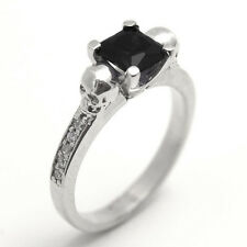 Skull Ring 1.25ct Princess Black Diamond-Unique with Accents Sterling Silver
