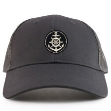 Youth Kid Silver Anchor Patch Youth 6 Panel Trucker Baseball Cap - FREE SHIPPING