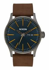 Nixon A105-2984 Sentry Leather Men's Watch Brown 42mm Stainless Steel