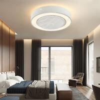 """22"""" Modern Ceiling Fan Light Chandelier 3 Speed 3 Color Remote Bedroom Lamp 70W"""