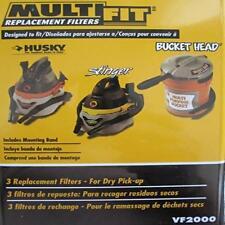3-PACK MULTI-FIT FILTERS VF2000 STINGER HUSKY BUCKET HEAD 2 2.5 GALLON WD20250