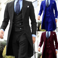 3 Piece Wedding Men Suits Dinner Party Formal Tuxedo Wide Peak Lapel Long Blazer