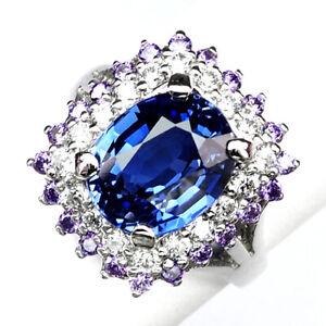 SAPPHIRE KASHMIR BLUE 6.7CT.AMETHYST 925 STERLING SILVER RING SZ 7.75 ENGAGEMENG