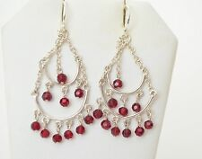 Sterling Silver Red Ruby Topaz Double Hoops Dangle Hook Earrings