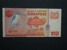 ****Decent**Singapore $10 'VF' Crisp & Clean 1979 Banknote******