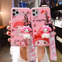 Cute 3D Doll Melody Lanyard Pink Phone Case Cover For Apple iPhone11Pro 7 8 XS X