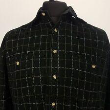 Paul Smith Mens Vintage Corduroy Shirt LARGE Long Sleeve BLack Regular Fit Check