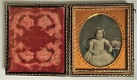 Daguerreotypie 1/6 Platte um 1850, Mädchen-Porträt  coloriert Foto