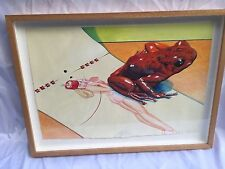 Magnificent Water Color Painting, nude women and a frog By Ralph Allen Massey