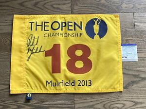 Phil Mickelson Signed 2013 British Open Flag Muirfield Masters PSA DNA Certified