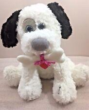 "BARKLEY First & Main black & white puppy dog soft plush 10""H w/bone & heart"