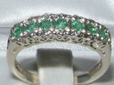 Solid English Sterling Silver  Natural Emerald Victorian StyleEternity Band Ring