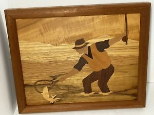 Wood marquetry fishing fish fly fishing art picture framed