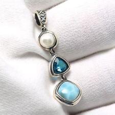 925 Sterling Silver Topaz Natural Dominican Larimar Gemstones Necklace Pendant