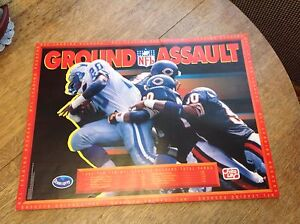 NFL Poster 1992 Frito Lay Promo Barry Sanders Lions Chicago Bears Ground Assault