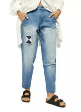NWT Free People Down To Earth Jeans  Patchwork Denim  Boho-Chic Embroidered 27