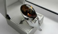 IMMENSE 15g sterling silver 925 G&M cognac amber MOP statement ring P/P.5 (7.75)
