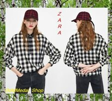 ZARA Gingham Checked Shirt Long Sleeve Sequinned Collar New Top Sizes: L; XL