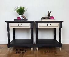 Beautiful Pair Of Black and Champagne Gold Bedside Drawers / Side Tables