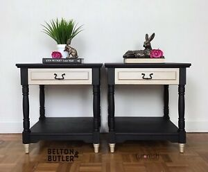 Beautiful Pair Of Two Black and Champagne Gold Bedside Drawers / Side Tables
