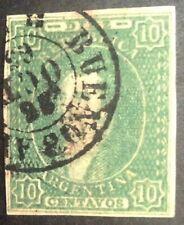 Argentina 1864 10 Cent Green Stamp Vfu