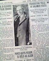 PONZI SCHEME Charles Wall Street Stocks Scandal Prison Release ? 1934 Newspaper