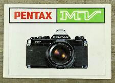 ASAHI Kamera Bedienungsanleitung PENTAX MV User Manual Anleitung (X8042