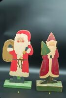 Lot of eight (8) Vintage Olde World Santas.  Hand carved and painted.  Just in t