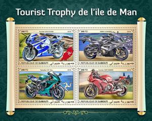 Djibouti Motorcycles Stamps 2018 MNH Isle of Man TT Suzuki BMW Yamaha 4v M/S