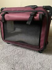 Tutto Lightweight Foldable Wheeled Pet Carrier (maroon)