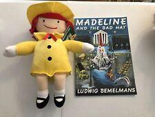 "Kohls Cares Madeline Doll Yellow Dress Hat Red Hair Sewn Eyes Plush 13""+Pb Book"