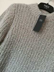 LADIES M&S SIZE 10 GREY WITH SILVER SPARKLE SOFT STRETCH JUMPER FREE POST