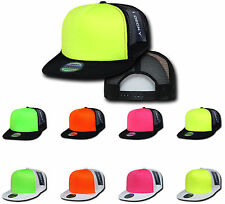 6 LOT NEW FOAM MESH FLAT BILL NEON TRUCKER HATS HAT CAP TWO TONE WHOLESALE DECKY