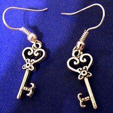 New Super Cute Skeleton Key Earrings - Pierced/Hook - In Jewelry Pouch/Bag