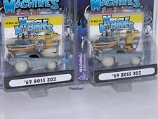 Muscle Machines RAW  Chase 1969 Ford Boss 302 Mustangs 69 Pony Cars Pair 1/504