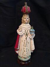 "Vintage Wooden Catholic Infant Of Prague Statue JESUS 12"""